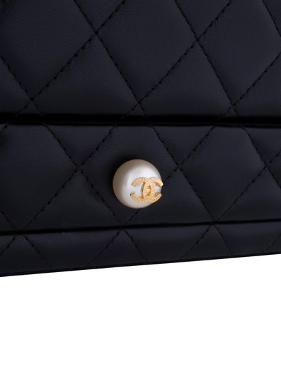 Chanel Jewelry Box Vanity Case Lambskin Leather Quilted Leather Black Clutch Image 2