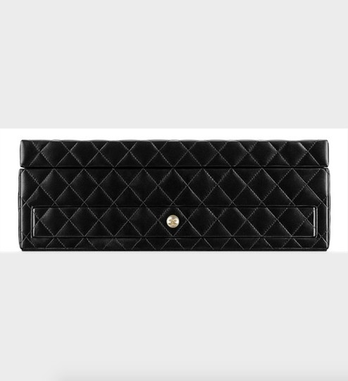 Chanel Jewelry Box Vanity Case Lambskin Leather Quilted Leather Black Clutch Image 3