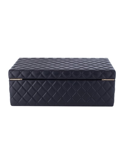 Chanel Jewelry Box Vanity Case Lambskin Leather Quilted Leather Black Clutch Image 6