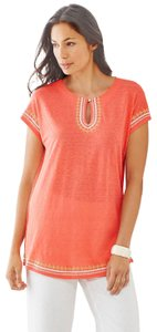 J. Jill Keyhole Linen Knit Embroidered Cover Up Tunic