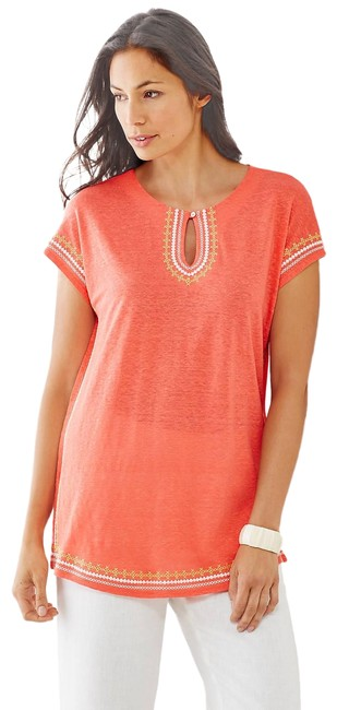 Preload https://img-static.tradesy.com/item/26031383/j-jill-coral-oversized-linen-knit-embroidered-tunic-size-6-s-0-2-650-650.jpg