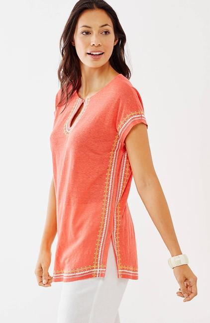 J. Jill Keyhole Linen Knit Embroidered Cover Up Tunic Image 1