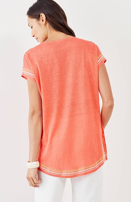 J. Jill Keyhole Linen Knit Embroidered Cover Up Tunic Image 2