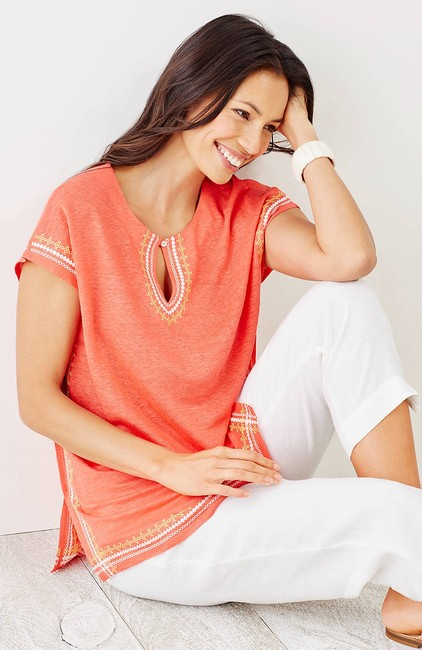 J. Jill Keyhole Linen Knit Embroidered Cover Up Tunic Image 3