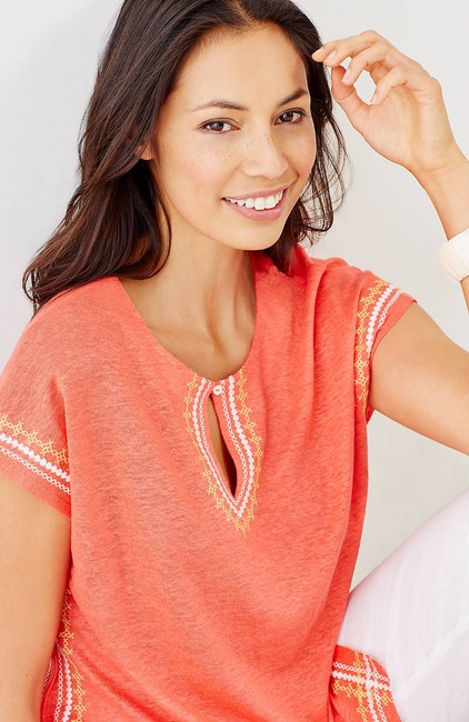 J. Jill Keyhole Linen Knit Embroidered Cover Up Tunic Image 4