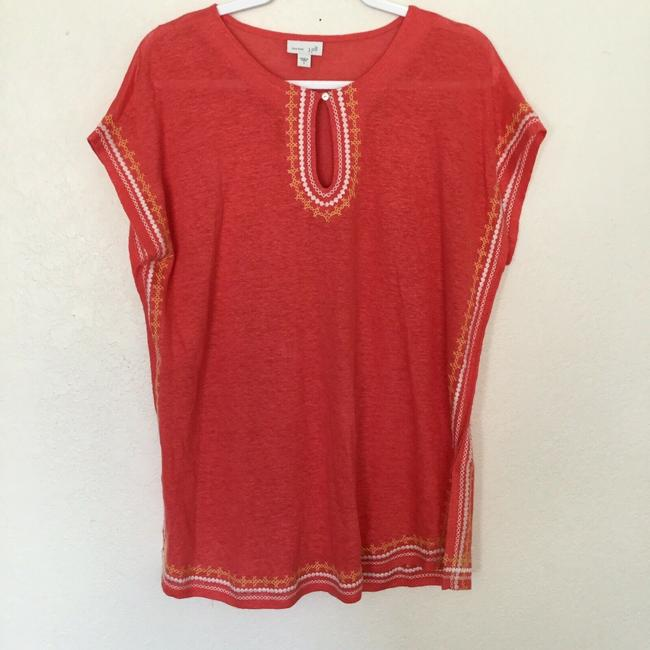 J. Jill Keyhole Linen Knit Embroidered Cover Up Tunic Image 6