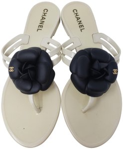 Chanel Jelly Camellia Interlocking Cc Gold Hardware Silver Hardware White Sandals