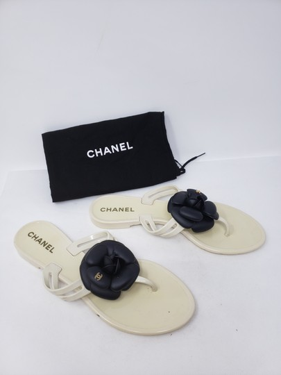 Chanel Jelly Camellia Interlocking Cc Gold Hardware Silver Hardware White Sandals Image 1