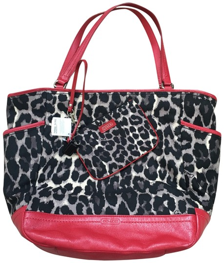 Preload https://img-static.tradesy.com/item/26031466/coach-purse-and-wristlet-signature-ocelot-fabric-with-trim-red-leather-tote-0-2-540-540.jpg