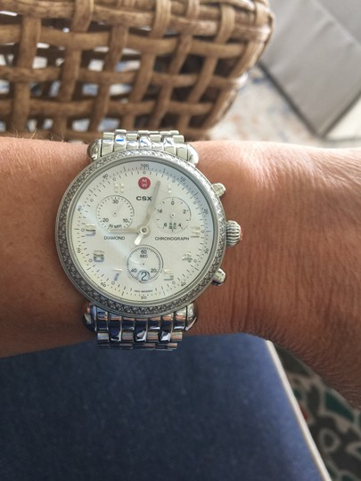 Michele Michele Silver watch with diamonds and mother of pearl chronograph 36m Image 3