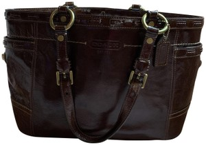 Coach Leather Detail Tote in Brown