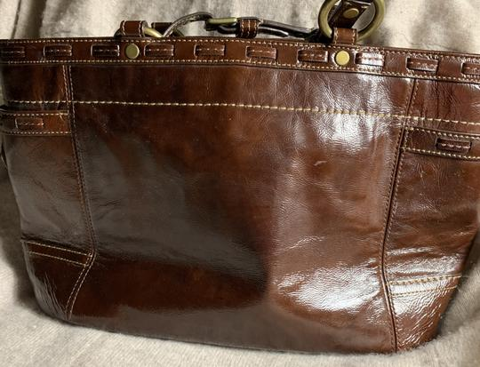 Coach Leather Detail Tote in Brown Image 2