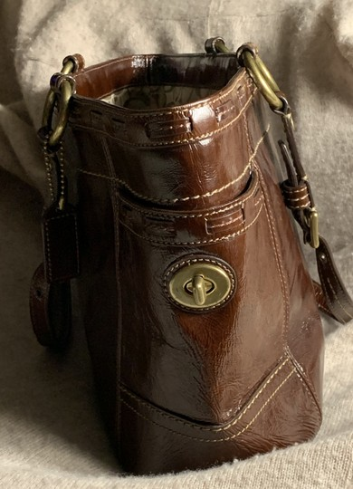 Coach Leather Detail Tote in Brown Image 3