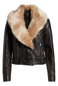 Paige Leather Faux Fur Motorcycle Jacket
