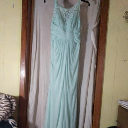 Preload https://item3.tradesy.com/images/david-s-bridal-mint-green-polyester-nylon-and-lace-unknown-formal-bridesmaidmob-dress-size-8-m-26031587-0-3.jpg?width=440&height=440