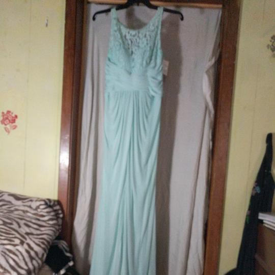 David's Bridal Mint Green Polyester Nylon and Lace Unknown Formal Bridesmaid/Mob Dress Size 8 (M) Image 1
