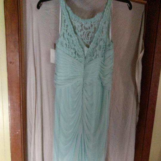 David's Bridal Mint Green Polyester Nylon and Lace Unknown Formal Bridesmaid/Mob Dress Size 8 (M) Image 4