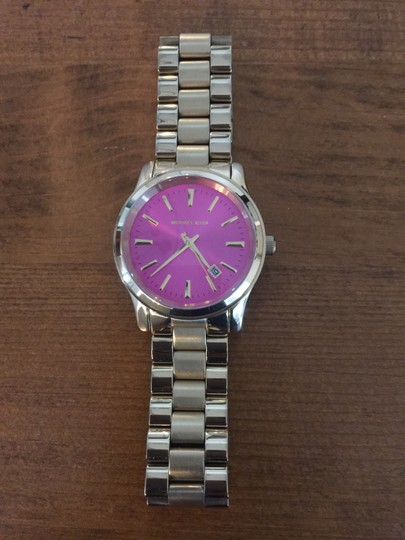Michele Michele Gold tone watch with pink face Image 1