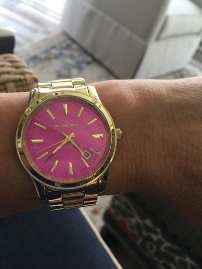 Michele Michele Gold tone watch with pink face Image 3