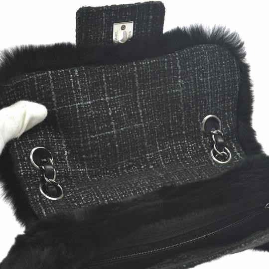 Chanel Vintage Tweed Classic Flap Exotic Fur Cross Body Bag Image 5