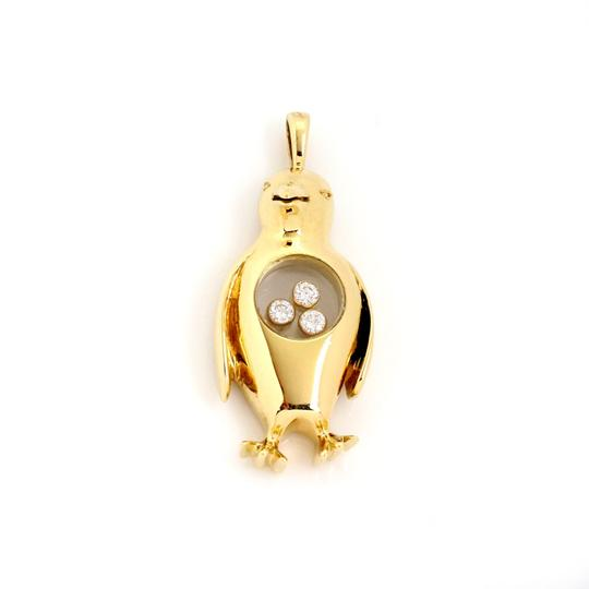 Chopard Happy Diamond 18k Yellow Gold Dangle Penguin Charm Safety Pin Brooch Image 2