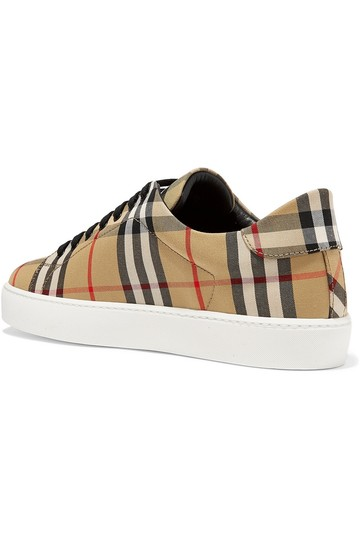 Burberry Leather Canvas High Top Sneakers Athletic Image 1