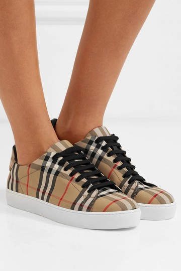 Burberry Leather Canvas High Top Sneakers Athletic Image 2