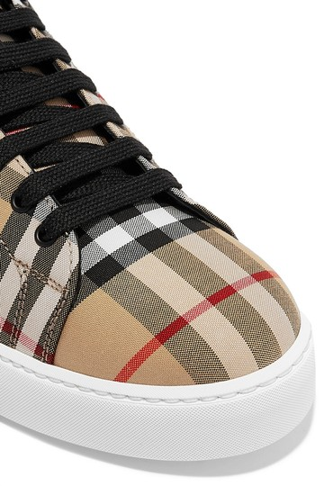 Burberry Leather Canvas High Top Sneakers Athletic Image 4