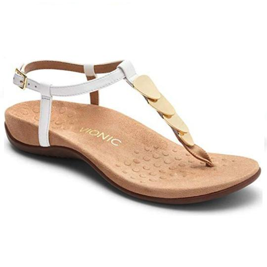 Vionic Leather Studded White & Gold Sandals Image 0