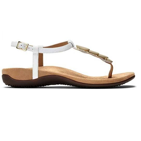Vionic Leather Studded White & Gold Sandals Image 1