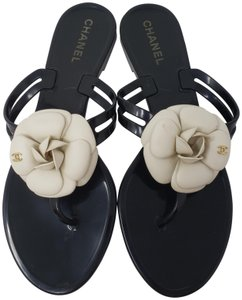 Chanel Jelly Camellia Interlocking Cc Gold Hardware Silver Hardware Black Sandals