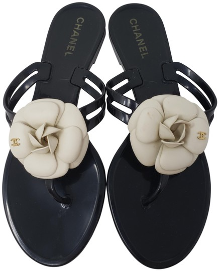 Chanel Jelly Camellia Interlocking Cc Gold Hardware Silver Hardware Black Sandals Image 0