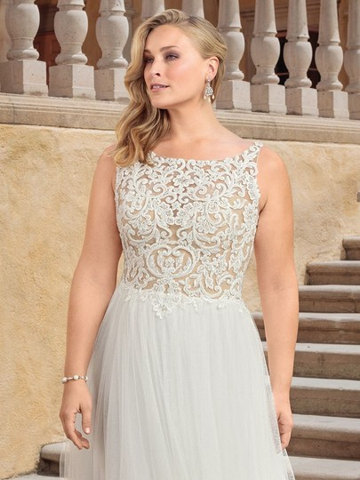 Casablanca Ivory Nude Lace Applique and Tulle 2310 Della Modern Wedding Dress Size 24 (Plus 2x) Image 1