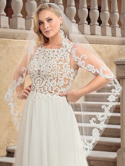 Casablanca Ivory Nude Lace Applique and Tulle 2310 Della Modern Wedding Dress Size 24 (Plus 2x) Image 2
