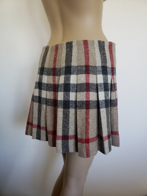 Burberry Lace Nova Check Silver Hardware Belted House Check Skirt Beige Image 1