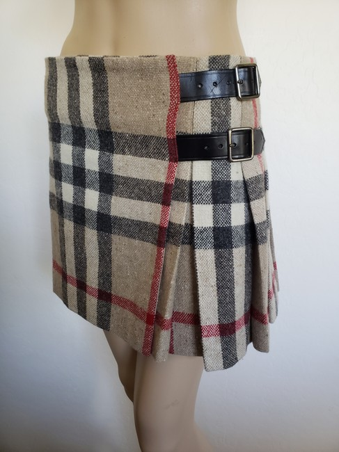 Burberry Lace Nova Check Silver Hardware Belted House Check Skirt Beige Image 2