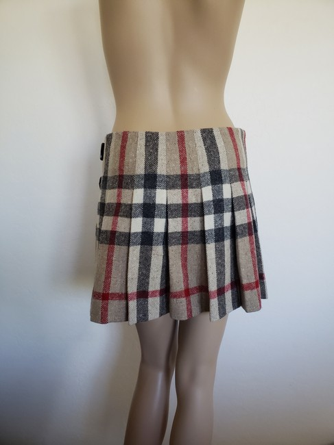 Burberry Lace Nova Check Silver Hardware Belted House Check Skirt Beige Image 3