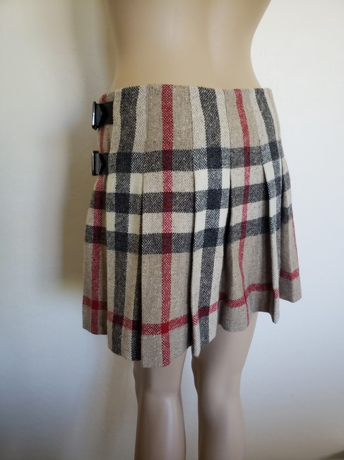 Burberry Lace Nova Check Silver Hardware Belted House Check Skirt Beige Image 4