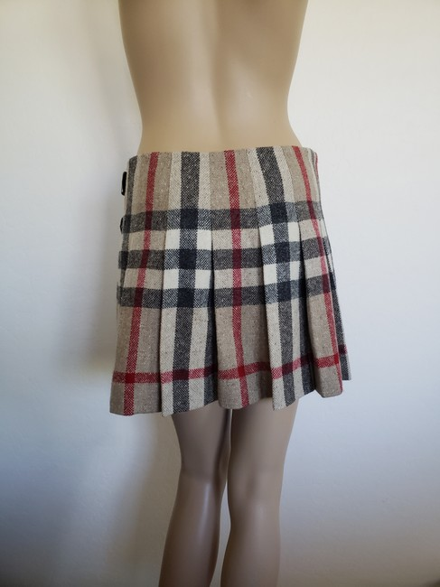 Burberry Lace Nova Check Silver Hardware Belted House Check Skirt Beige Image 5