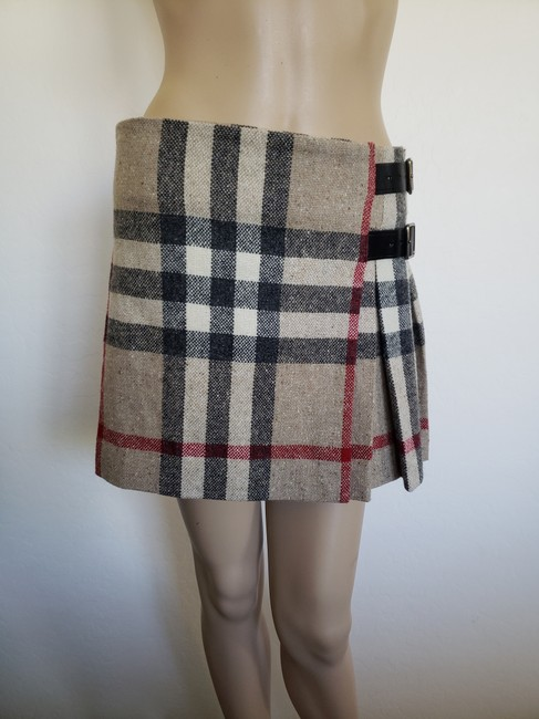 Burberry Lace Nova Check Silver Hardware Belted House Check Skirt Beige Image 7