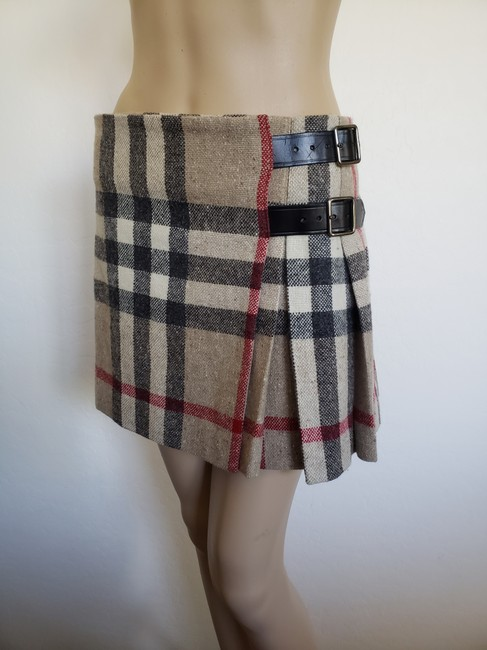 Burberry Lace Nova Check Silver Hardware Belted House Check Skirt Beige Image 8