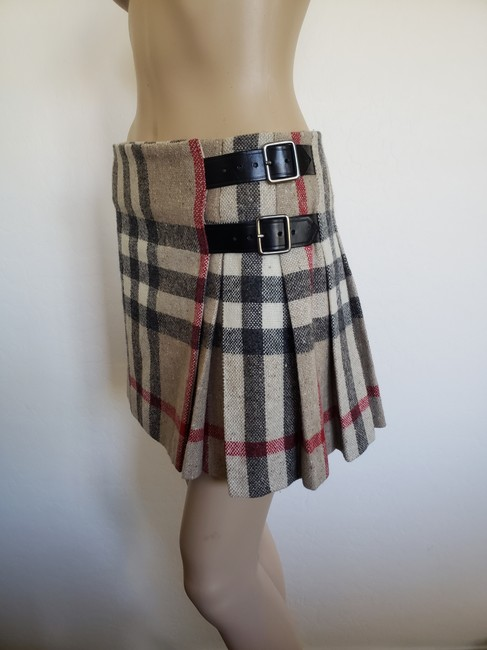 Burberry Lace Nova Check Silver Hardware Belted House Check Skirt Beige Image 9