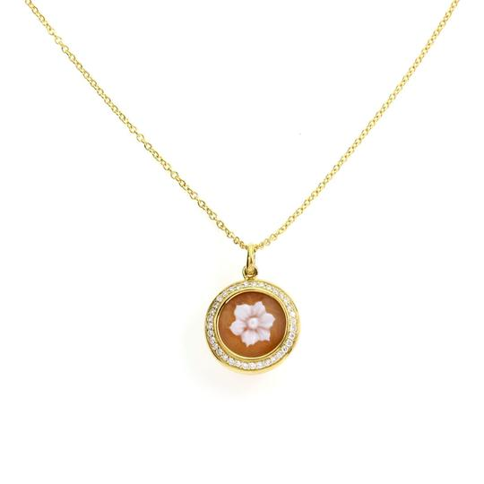 Ippolita Rock Candy Diamond Shell Cameo Flower 18k Yellow Gold Pendant Image 0