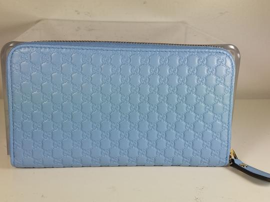 Gucci Women's 449391 Blue Leather Micro GG Guccissima Zip Around Wallet. Image 1