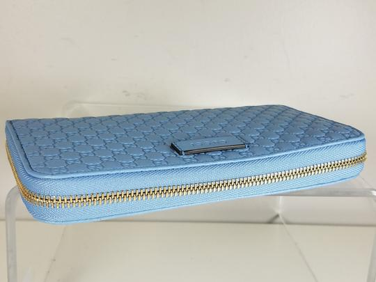 Gucci Women's 449391 Blue Leather Micro GG Guccissima Zip Around Wallet. Image 4