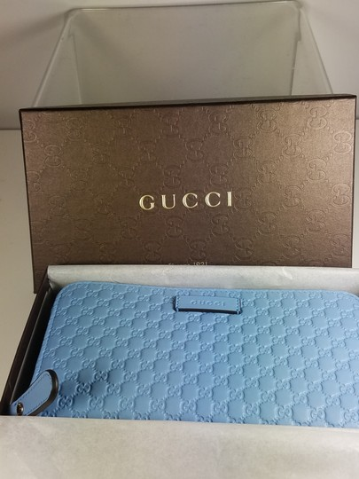 Gucci Women's 449391 Blue Leather Micro GG Guccissima Zip Around Wallet. Image 7