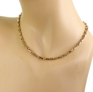 BVLGARI 18k Yellow Gold 3.5mm Fancy Link Chain Necklace
