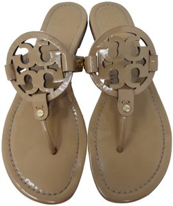 Tory Burch Miller Reva Logo Gold Hardware Metallic Brown Sandals