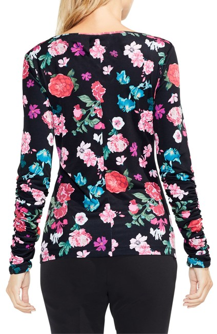 Vince Camuto Longsleeve Floral Ruched Boat Neck Pullover Top Black Image 1