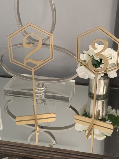 Gold Wedding Table Hexagon Numbers (1-16; 2 For #15 and #16) Image 1